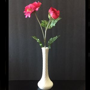 Vintage Quilted Pattern Milk Glass Vase